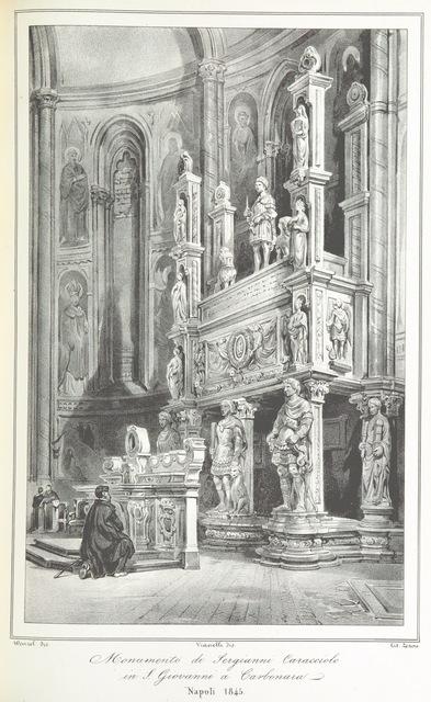 """monument to Sergianni Caracciolo from """"Napoli e i luoghi celebri delle sue vicinanze. ([Compiled by order of the Neapolitan ministry of home affairs by] G. B. Ajello, S. Aloe, R. d'Ambra, M. d'Ayala, C. Bonucci, C. Dalbono, F. Puoti, B. Quarunta.)"""""""