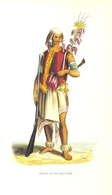 """rifle from """"Die Völker des Erdballs nach ihrer Abstammung und Verwandtschaft, und ihren Eigenthümlichkeiten in Regierungsform, Religion, Sitte und Tracht ... Mit ... colorirten Abbildungen"""""""