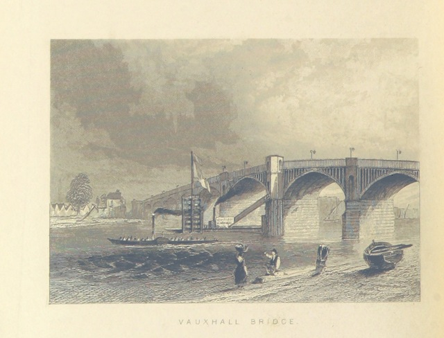 """bridge from """"Illustrated London, or, a series of views in the British metropolis and its vicinity, engraved by Albert Henry Payne, from original drawings. The historical, topographical and miscellaneous notices, by W. I. Bicknell"""""""