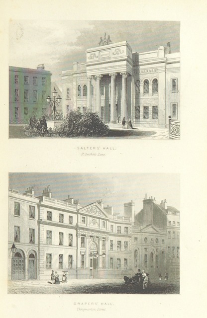"""engravings by Albert Henry Payne from """"Illustrated London, or, a series of views in the British metropolis and its vicinity, engraved by Albert Henry Payne, from original drawings. The historical, topographical and miscellaneous notices, by W. I. Bicknell"""""""
