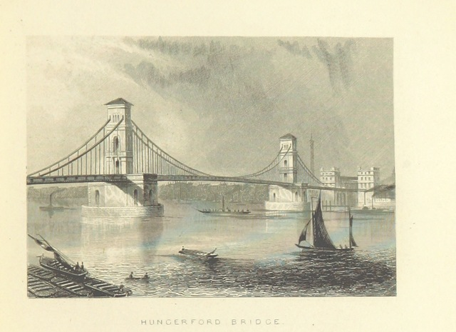 """Hungerford Bridge from """"Illustrated London, or, a series of views in the British metropolis and its vicinity, engraved by Albert Henry Payne, from original drawings. The historical, topographical and miscellaneous notices, by W. I. Bicknell"""""""
