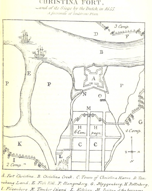 """map from """"A History of the original settlements on the Delaware, from its discovery by Hudson to the colonization under William Penn. To which is added, an account of the ecclesiastical affairs of the Swedish settlers, and a history of Wilmington, from its first settlement to the present time"""""""