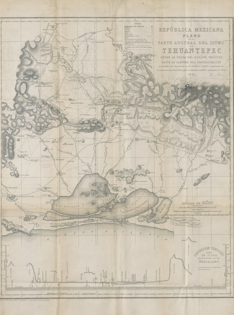 """map from """"An Account of the Isthmus of Tehuantepec in the Republic of Mexico; with proposals for establishing a communication between the Atlantic and Pacific Oceans, based upon the surveys and reports of a Scientific Commission, appointed by the Projector Don J. de Garay. (Principally compiled from two reports published ... by St. Gaetano Moro.)"""""""