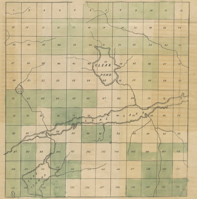 """map from """"An Attempt to present the Claims of Long Lake to the consideration of all those who are in search after good land at a low price. [With a map.]"""""""