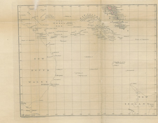 "map from ""Description of the New Hebrides Group of Islands in the South Pacific Ocean: showing the advantages to be derived from a settlement on one of the Islands: with a brief notice of the objects ... of the New Hebrides Company, and some general suggestions for organizing an extensive and lucrative trade. [By H. Roche?]"""