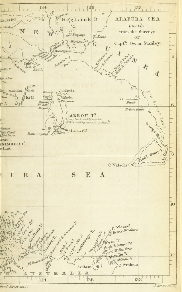 """map from """"Discoveries in Australia; with an account of the coasts and rivers explored and surveyed during the voyage of H.M.S. Beagle, in the years 1837-43. ... Also a narrative of Capt. Owen Stanley's visits to the Islands in the Arafūra Sea"""""""