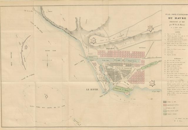 """map from """"Histoire des projets pour l'agrandissement des fortifications et la rade du Havre depuis l'année 1837"""""""
