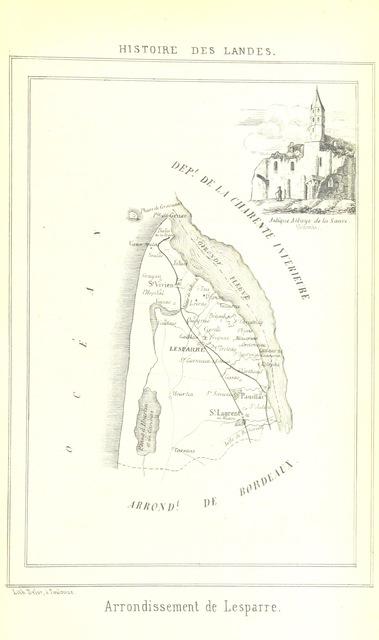 """map from """"Histoire politique, religieuse et littéraire des Landes, etc"""""""