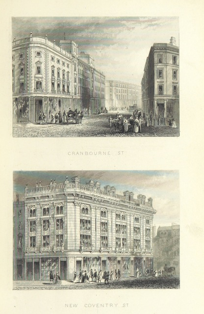 """New Coventry Street from """"Illustrated London, or, a series of views in the British metropolis and its vicinity, engraved by Albert Henry Payne, from original drawings. The historical, topographical and miscellaneous notices, by W. I. Bicknell"""""""