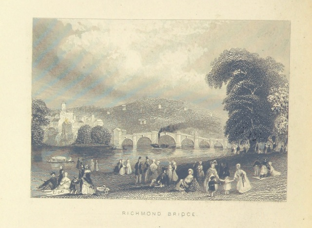 """Richmond Bridge from """"Illustrated London, or, a series of views in the British metropolis and its vicinity, engraved by Albert Henry Payne, from original drawings. The historical, topographical and miscellaneous notices, by W. I. Bicknell"""""""