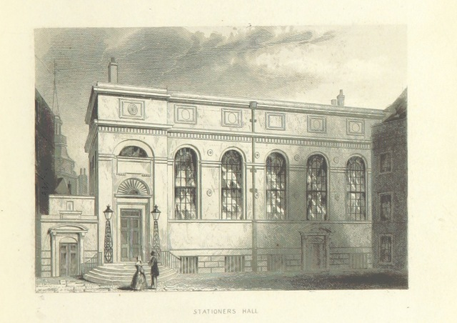 """Stationers_Hall from """"Illustrated London, or, a series of views in the British metropolis and its vicinity, engraved by Albert Henry Payne, from original drawings. The historical, topographical and miscellaneous notices, by W. I. Bicknell"""""""