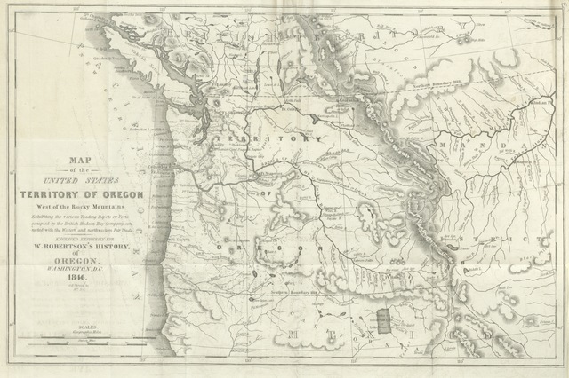 """Territory of Oregon from """"Oregon, our right and title. Containing an account of the condition of the Oregon territory, its soil, climate and geographical position; together with a statement of the claims of Russia, Spain, Great Britain and the United States: accompanied with a map, prepared by the author"""""""