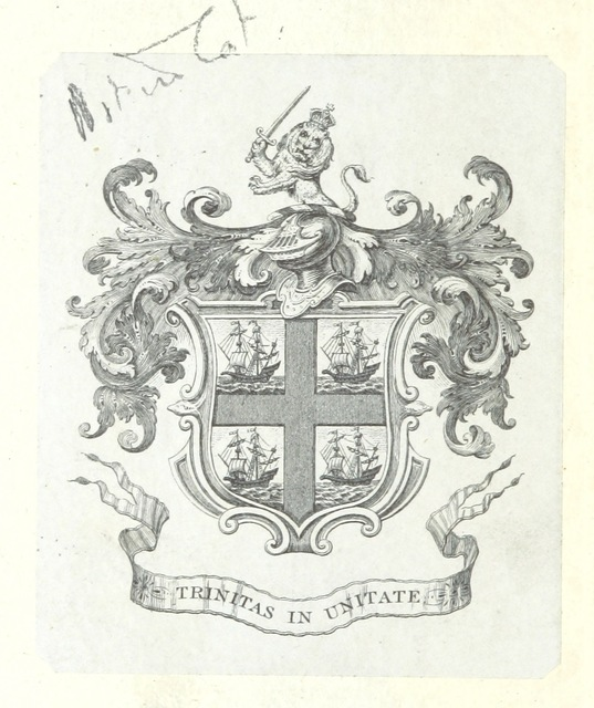 """coat of arms from """"Plan General para el Alumbrado Marítimo de las Costas y Puertos de España é islas adyacentes, propuesto por la Comision especial de Faros, etc. [With a map.]"""""""
