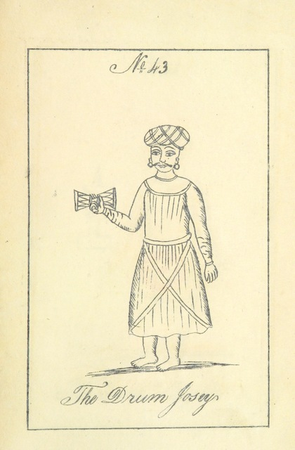 "drum from ""A Digest of the different castes of the Southern Division of Southern India. With description of their habits, customs [and 50 lithographed plates], etc. no. 1"""
