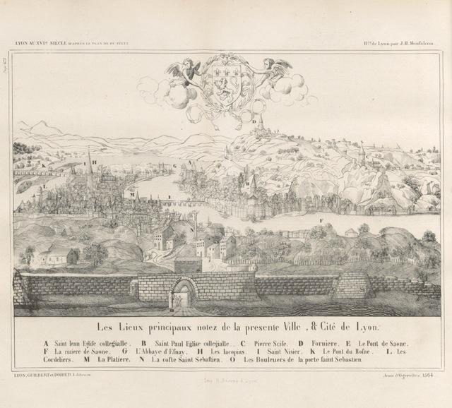 """map from """"Histoire de la ville de Lyon ... Revue par C. Breghot, du Lut et A. Pericaud"""""""