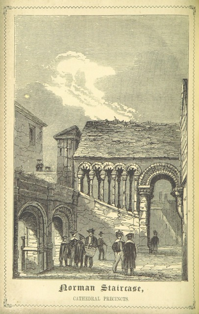 """Norman staircase from """"Ward's Canterbury Guide. ... Tenth edition. [With illustrations.]"""""""