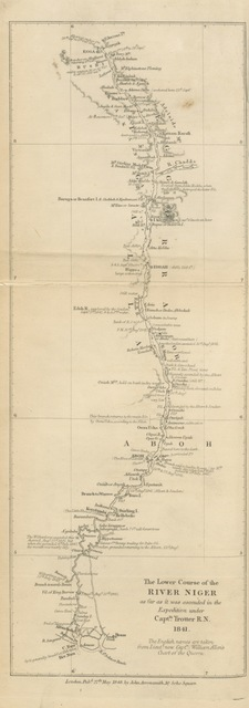 """map from """"A Narrative of the Expedition sent by Her Majestys Government to the River Niger in 1841, under the command of Capt. H. D. Trotter. [With plates.]"""""""