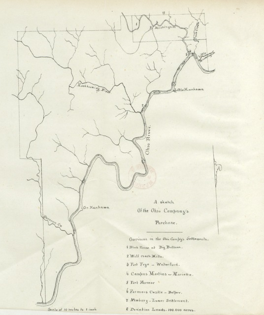 "map from ""Pioneer history: being an account of the first examinations of the Ohio Valley and the early settlement of the Northwest Territory, etc"""