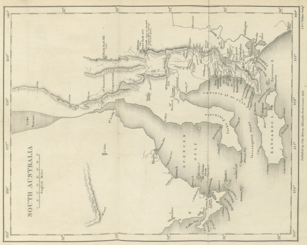"""map from """"South Australia; its advantages and its resources. Being a description of that colony, and a manual of information for emigrants"""""""