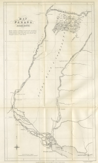 "map from ""Steam Warfare in the Parana: a narrative of operations by the combined squadrons of England and France"""