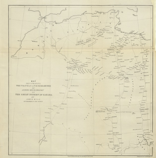 "map from ""Travels in the Great Desert of Sahara, in 1845 and 1846; including a description of the oases and cities of Ghat, Ghadames and Mourzuk"""