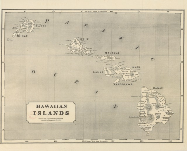 """map from """"A Residence of Twenty-one Years in the Sandwich Islands; or the Civil, religious, and political history of those islands ... Third edition, revised and corrected, etc. [With a portrait and a map.]"""""""