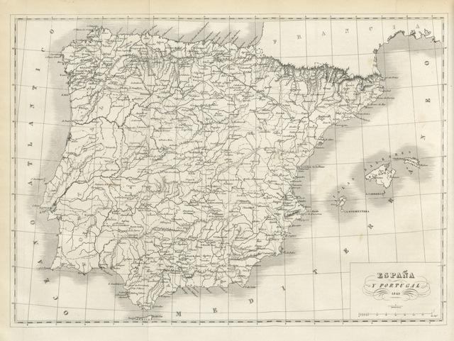 """map from """"Cuadros de la geografia histórica de España, desde los primeros tiempos históricos hasta el dia. Con varias mapas de las diversas dominaciones, etc"""""""