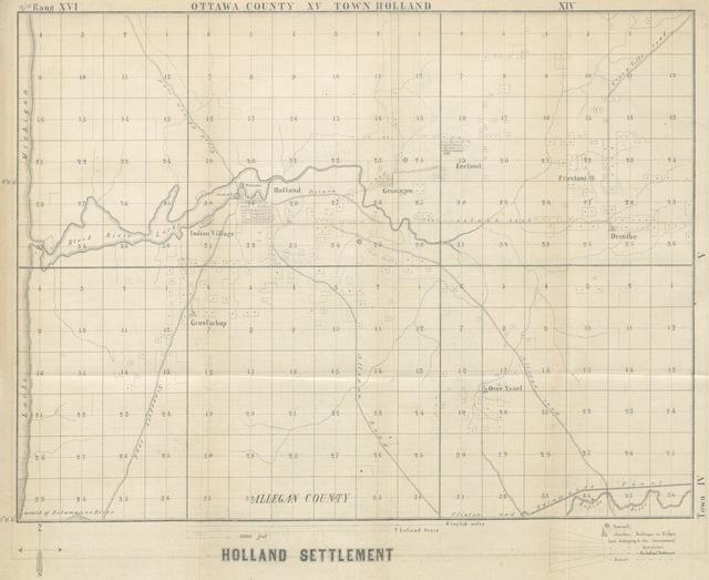 """map from """"De toestand der Hollandsche kolonisatie in den Staat Michigan, Noord-Amerika, in het begin van het jaar 1849, medegedeeld in drie brieven van ... A. C. van Raalte, C. van der Meulen, en S. Bolks aan C. G. de M. ... Waar achter volgt: Eeen brief van ... G. Baay uit Alto, Staat Wisconsin, aan zijne vrienden in Nederland. [With a preface by C. G. de M.]"""""""