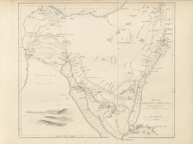 "map from ""Forty Days in the Desert on the track of the Israelites; or, a Journey from Cairo by Wady Feiran to Mount Sinai and Petra. By the author of ""Walks about Jerusalem"" [i.e. William Henry Bartlett.] Third edition. [With illustrations and plates.]"""