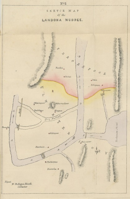 "map from ""Statistical Report on the District of Goorgaon; compiled by A. F. To which are added Reports on the revision of settlement under regulation IX. of 1833, etc"""