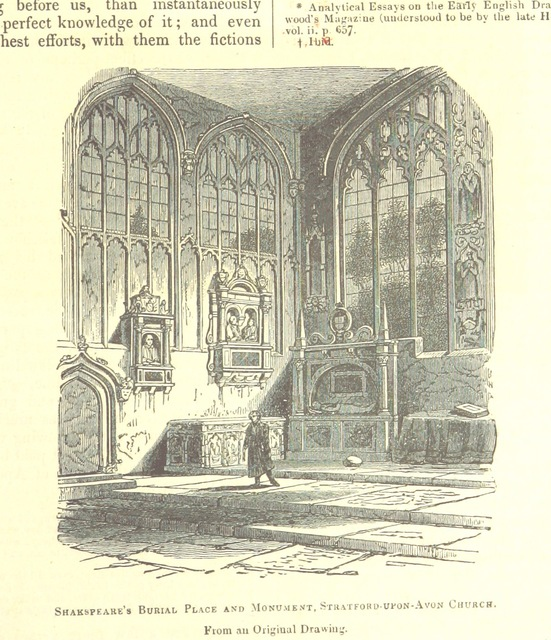 """Stratford-upon-Avon Church from """"The Pictorial History of England (to the death of George III) ... By G. L. Craik and Charles MacFarlane, assisted by other contributors. [Edited by G. L. Craik.] (Standard edition.)"""""""