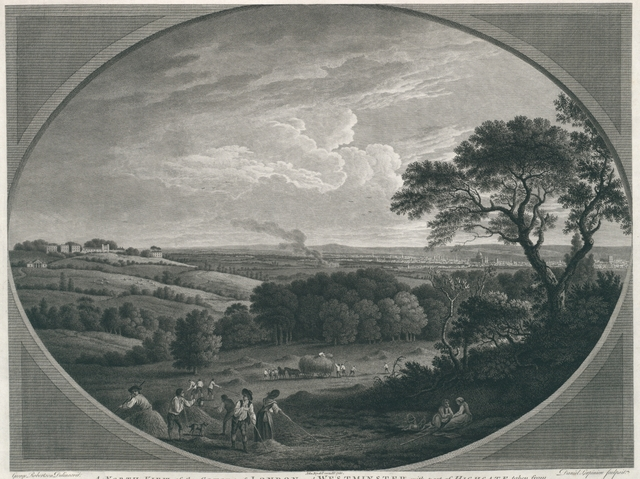 A north View of the Cities of London and Westminster, with part of Highgate taken from Hampstead Heath, near the Spaniards