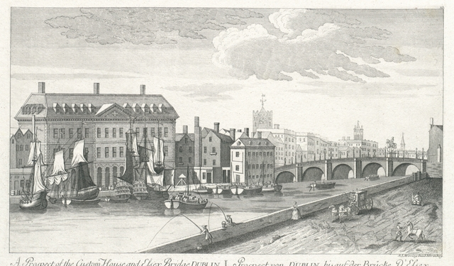 A Prospect of the Custom House, and Essex Bridge, Dublin. Prospect von Dublin, bis auf der Brücke d'Essex