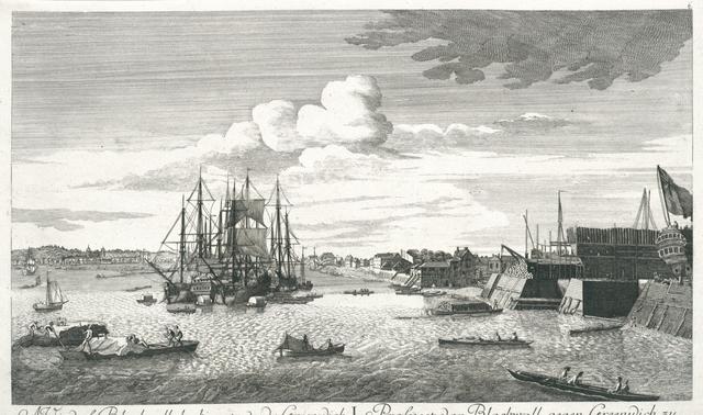 A view of Blackwall, looking towards Greenwich. Prospect von Blackwall, gegen Greenwich zu