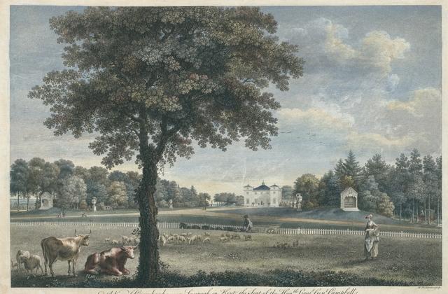 A view of Coombank near Sevenoak in Kent, the Seat of the Hon.ble Lieut.t Gen.l Campbell. Veue de coombank, dans la Comté de Kent. Maison de l'hon.ble Lieut.t Gen.l. Campbell