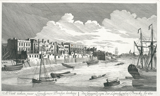 A View taken near Limehouse Bridge, looking down the Thames. die Gegend von der Limehouser Brücke, so wie sie sich gegen die Themse zu zeichget