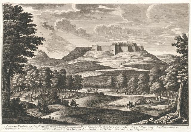 Accurate Vorstellung der fürtrefflichen Chur Bayrischen Berg-Vestung Rothenberg gegen Abend, wie selbige unter der Regirung Sr. Kayßerl. Majestät Carl VII von denen Oestereich. Völckerrn im Jahr 1744 bloquirt ward.