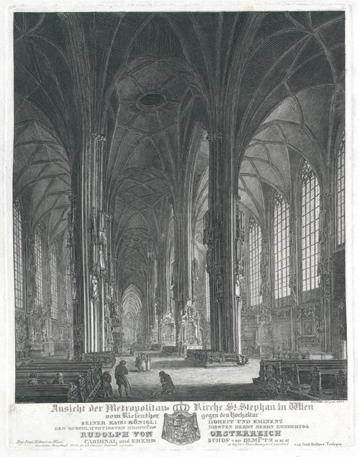 Ansicht der Metropolitan-Kirche St. Stephan in Wien vom Riesenthor gegen den Hochaltar
