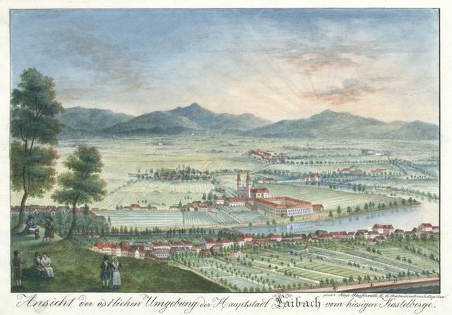 Ansicht der östlichen Umgebung der Hauptstadt Laibach vom hiesigen Kastelberg