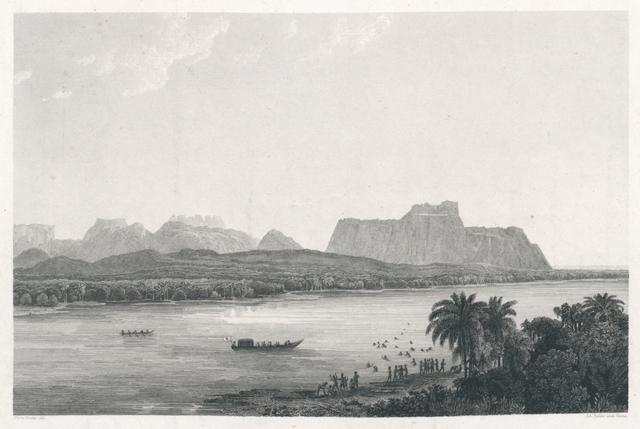 [ Ansicht der Serra das Figuras, vom Rio Maranhao ]