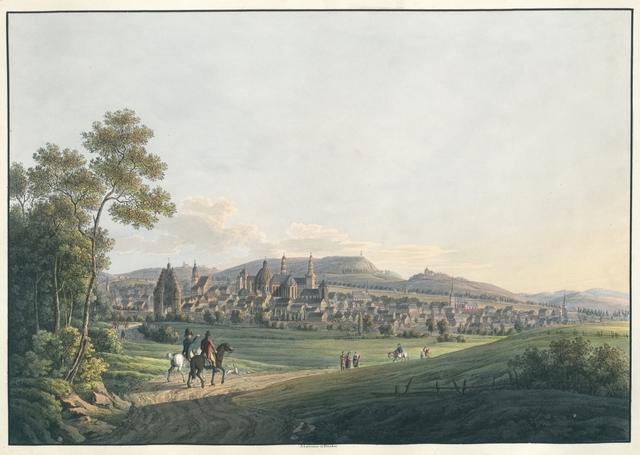 Ansicht der Stadt Aachen und ihren Umgebungen. Vue de Aix-la-Chapelle et de ses environs
