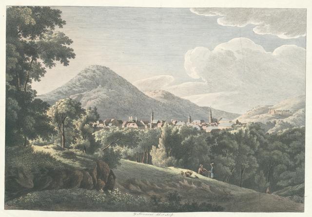Ansicht der Stadt Heidelberg von der Südseite. Vue de la ville de Heidelberg du coté du sud