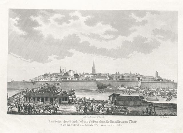 Ansicht der Stadt Wien gegen das Rothenthurm-Thor. Nach J. A. Delsenbachs Originale vom Jahre 1719