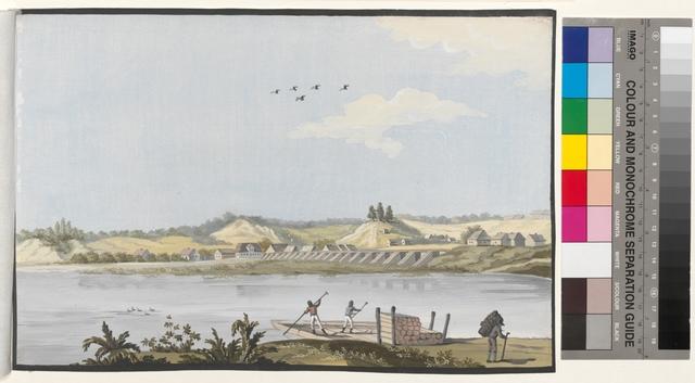 Ansicht der Thorner Weichsel Brücke und ein Theil der darauf befindlichen Kemp Häusser in der Entfernung
