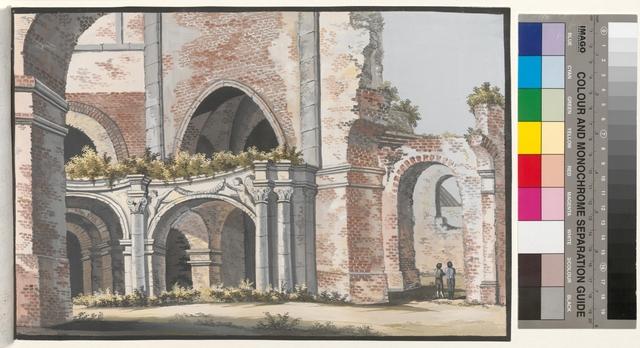 Ansicht des 1ten Theils de(!) abgebrandten Pfarr Kirche zu Posen