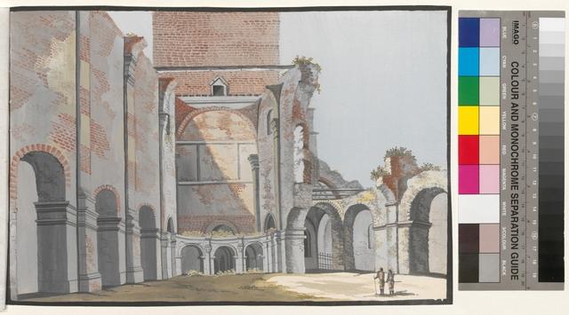 Ansicht des 2ten Theils der abgebrandten Pfarr Kirche zu Posen
