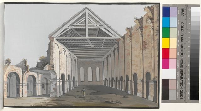 Ansicht des 3ten Theils der abgebrandten Pfarr Kirche zu Posen