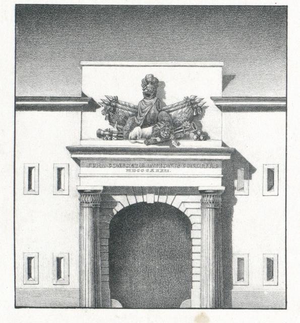 Ansicht des Äusseren Thores von dem Reduit vor der Rheinbrücke im Fort Castel bei Mainz