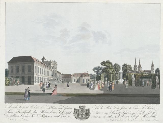 Ansicht des fürstl. Kaunitzischen Pallastes und Gartens. Vue du Palais et du Jardin du Prince de Kaunitz