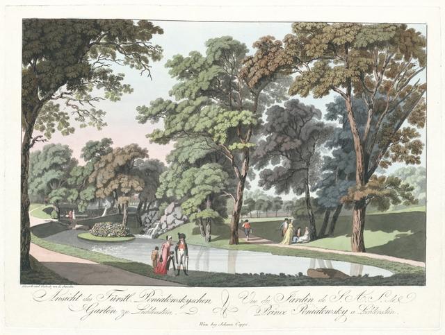 Ansicht des Fürstl. Poniatowskyschen Garten zu Lichtenstein. Vue du Jardin de S. A. S. de Prince Poniatowsky a Lichtenstein